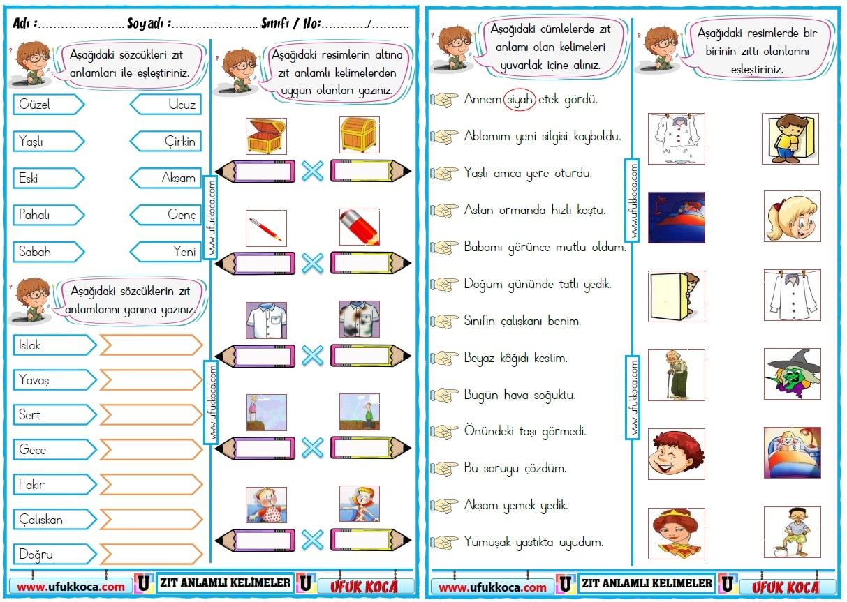 1 Sinif Turkce Dil Bilgisi 5 Konu 1 Sinif Zit Anlamli