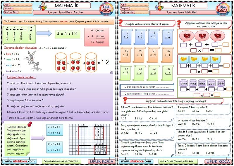 34 3sınıf Matematik çarpma Işlemi Etkinlikleri Konu Anlatımı Ve