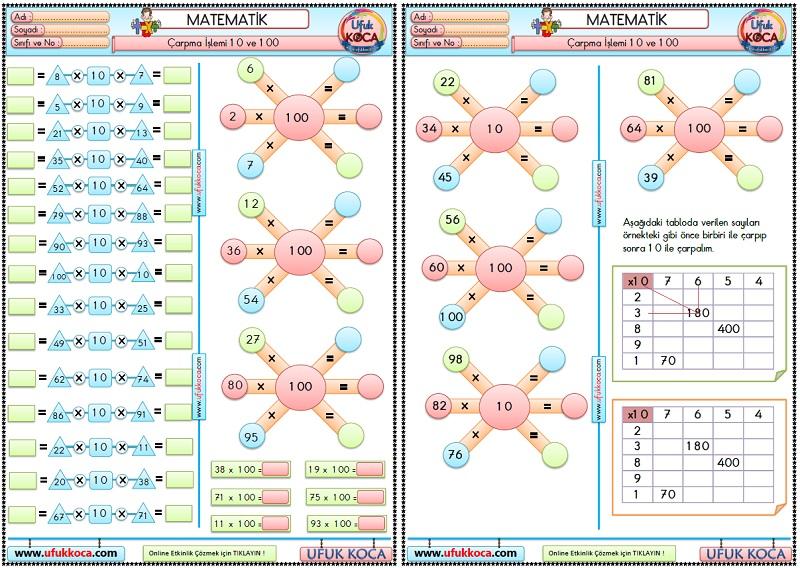 37 3 Sinif Matematik Carpma Islemi Etkinlikleri 10 Ve 100 Ile