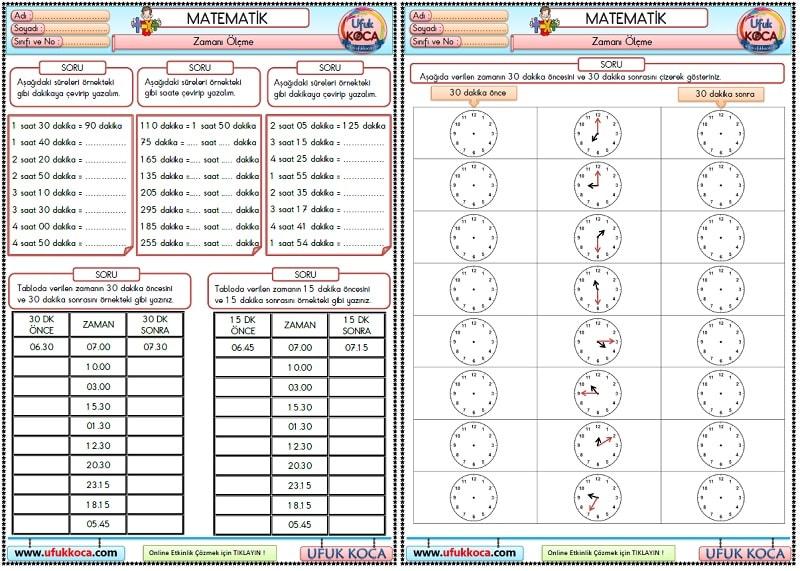 53 3sınıf Matematik Zamanı ölçme çevirme öncesi Ve Sonrası